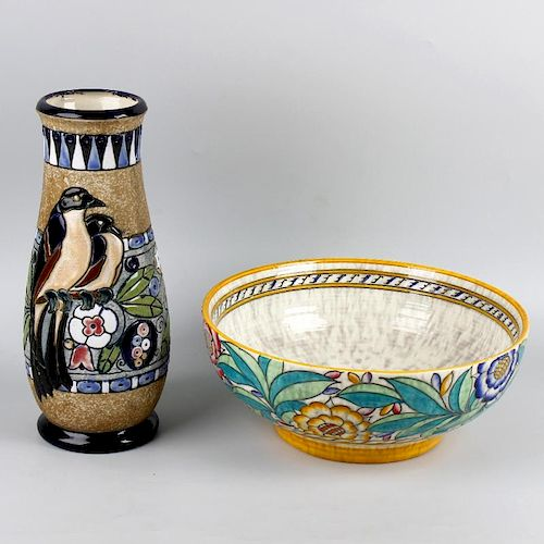 A Charlotte Rhead bowl, of circular form, having floral decorated body in yellow, green, pink and bl