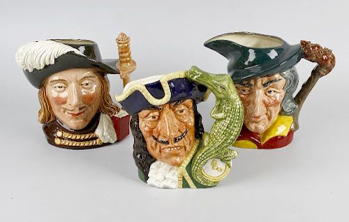A group of four large and five small Royal Doulton character jugs Comprising: Capt. Hook D6597, Mont