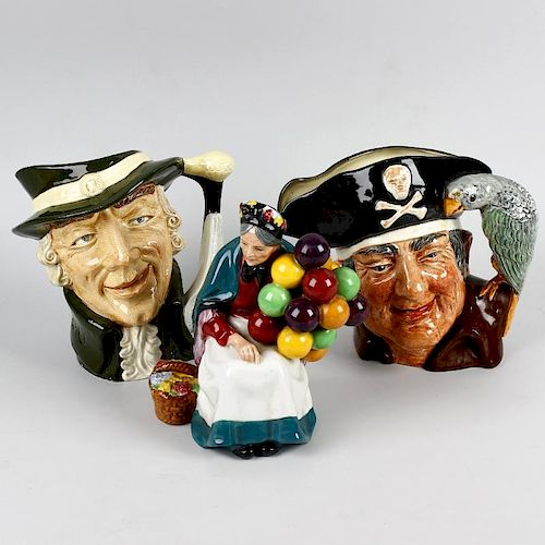 Two Royal Doulton character jugs and two Doulton figures Comprising: Long John Silver D6335, Regency