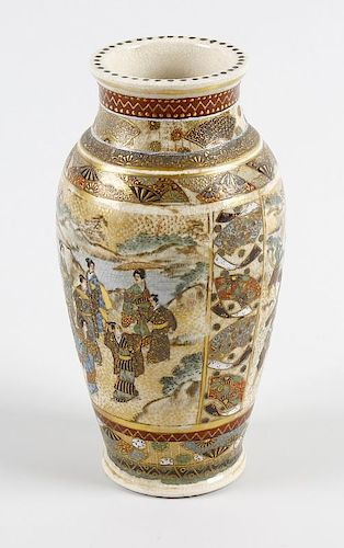A Japanese Meiji period Satsuma vase of baluster form, decorated with panels of bijin on a riverside
