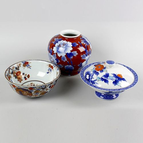 Five items of Japanese porcelain. Comprising an Imari bowl, three ovoid vases, the largest decorated