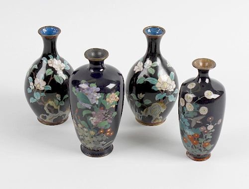 Six Japanese Meiji period cloisonne vases. Four with a blue finished ground, one decorated with cran