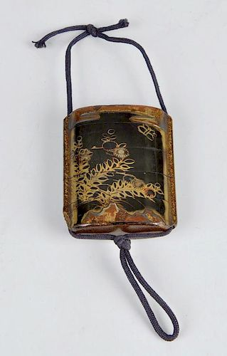 A 19th century lacquered five section inro, the brown gilt decorated body detailed with flowers with