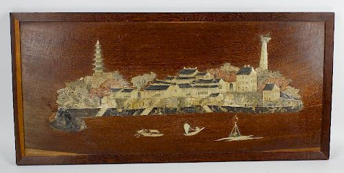 A 19th century Chinese carved soapstone and wooden panel. Depicting landscape scene in low relief wi
