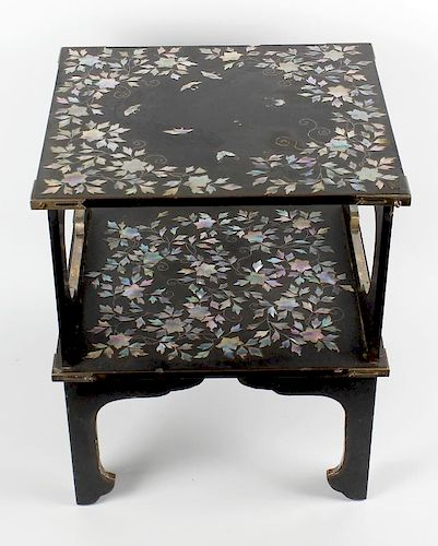 A fine Japanese mother-of-pearl and abalone inlaid black lacquered table. The square top decorated w