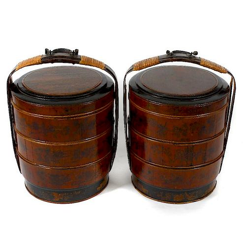 A pair of Chinese wedding baskets Each of barrel form with cane-wrapped handle over circular cover d
