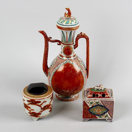 A group of Japanese porcelain. To include an Indo-Persian style coffee pot of pear form with seated