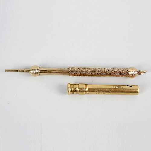An 18ct gold retractable pencil holder, with retailer's mark for Asprey, of plain cylindrical form h
