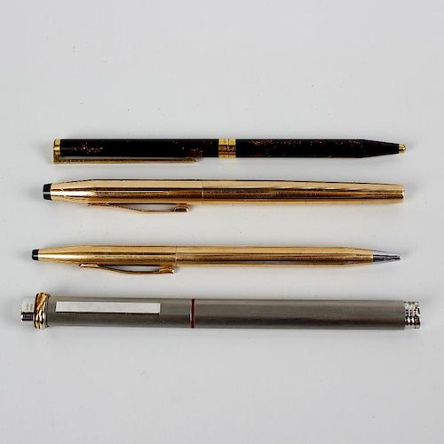 A selection of various pens, to include a Cartier brushed steel rollerball, a Dupont gold plated Laq