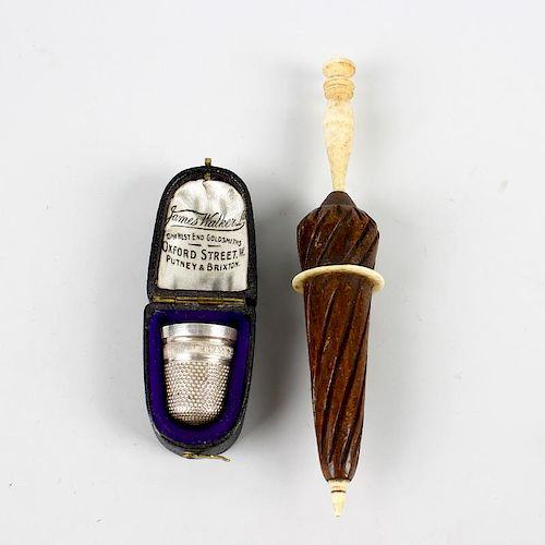 Two sewing-related items. Comprising a silver thimble, 'JAMES WALKER WISHES YOU LUCK', Birmingham, 1