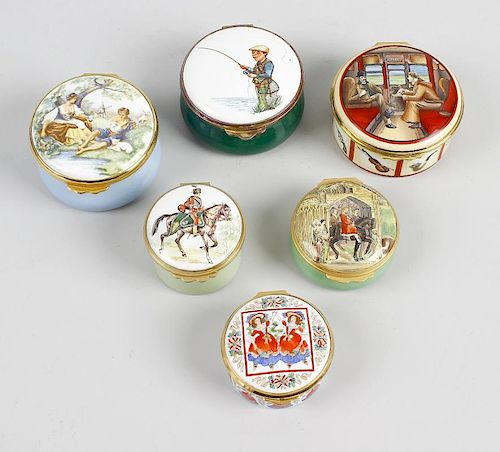 A group of nine assorted enamel boxes. Comprising three Halcyon Days (one drum-shaped Fashion box fo