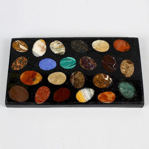 A Victorian hardstone or pietra dura specimen desk paperweight. The black slate or Ashford marble r