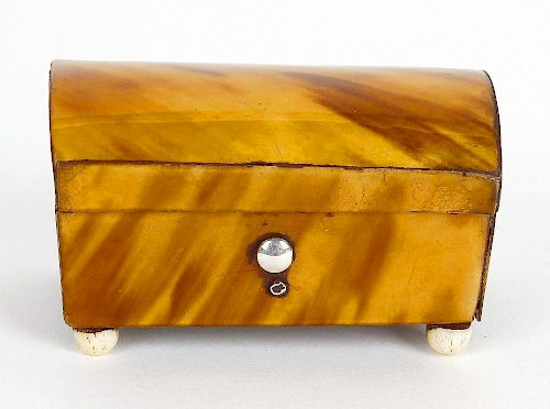 A small 19th century tortoiseshell trinket box. Modelled as a casket with hinged cover opening to re