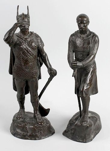 Two bronze figures. Modelled as a Viking and Crusader stood upon naturalistic base having cast signa
