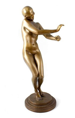 A 20th century bronze figure. Modelled as a dancing female nude, upon stepped circular base inscribe