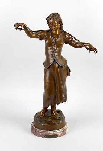 Marcel Debut, (1865-1933), A bronze figure 'Flanerie', modelled as a female figure with rustic yoke