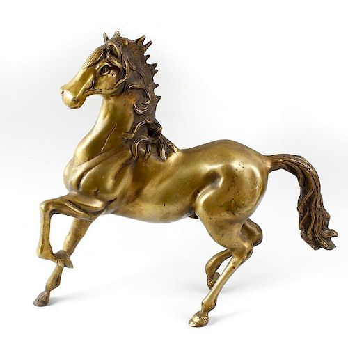A modern bronze figure of a horse. Modelled in stylised rearing stance with flowing mane and tail, 1