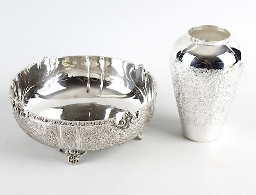 A selection of continental silver, silver plate and metal items, to include a circular bowl having a