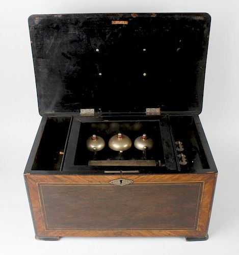 A late 19th century inlaid 'bells in sight' cylinder music box, the 6-inch barrel with complete comb