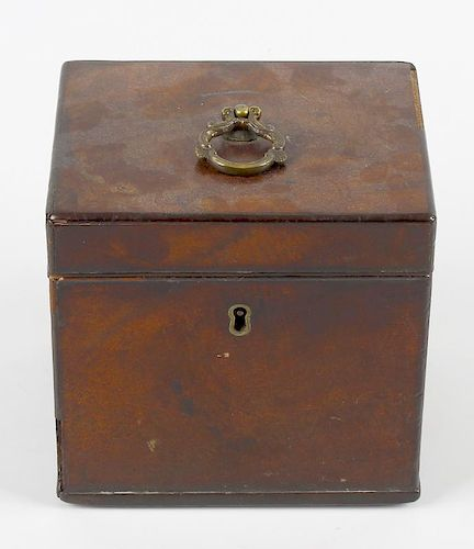 A George III mahogany tea caddy, of cuboid form, the hinged cover with scroll loop handle, 5 x 4 x 5