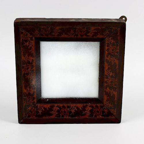 A Victorian Tunbridgeware inlaid wall mirror. The plain square mirror plate within canted surround d