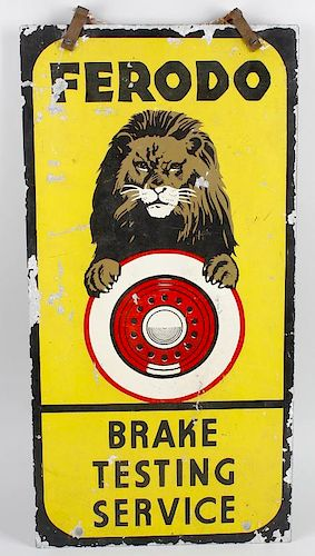 Advertising interest: an enamel sign, 'Ferodo Brake Testing service'. Of slender rectangular form, d