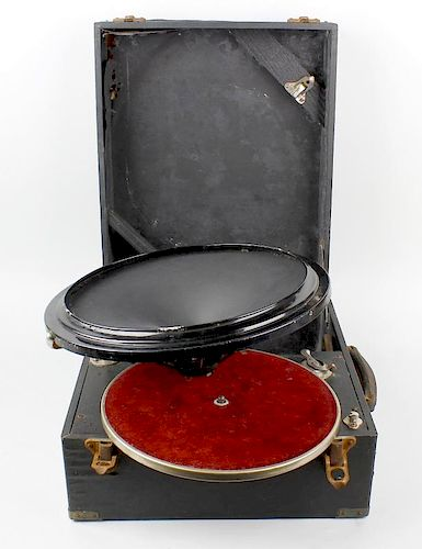 A portable gramophone with Phonos speaker / playing head system, a 19th century rectangular box with