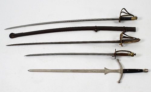 A Victorian Officer's dress sword, the scrolled open basket hilt with crest and folding guard, a 19t