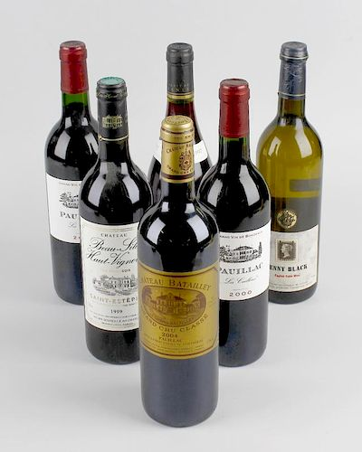 Six bottles of assorted wines, comprising two Pauillac Cailloux 2000, 750 ml, 12.5% volume, Chateau
