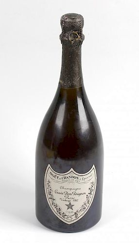 A bottle of Cuvee Dom Perignon Rose Champagne vintage 1982, 12.5% ABV, label and neck in good condit