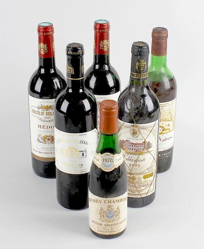 Six bottles of assorted wines, comprising Chateau Soussans 2002 Margaux, 750 ml, 12.5% volume, two C