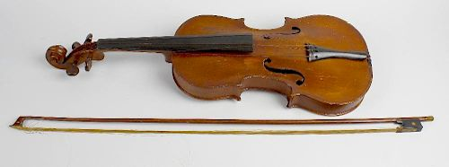 A Nicolas Bertholini violin, 24 (61 cm) long with bow. <br><br>Heavily worn, scratched and marked. S