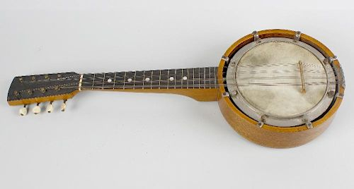 A cased eight-string banjo. The plain stained-wood body having ivorine tuners, unmarked 21 (53.5 cm)