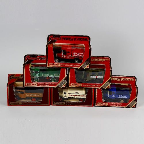 A box containing 50 Matchbox Models of Yesteryear diecast model cars and other vehicles, each in ori
