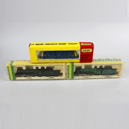 Six Hornby Minitrix and Arnold N gauge model railway locomotives. To include Evening Star, BR Flying
