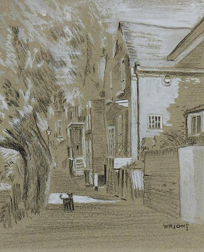 A box containing a framed and glazed charcoal sketch, with white watercolour wash, street scene with