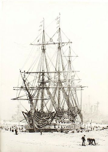 A box of assorted pictures and prints To include two engravings by William Lionel Wyllie, 'HMS Victo