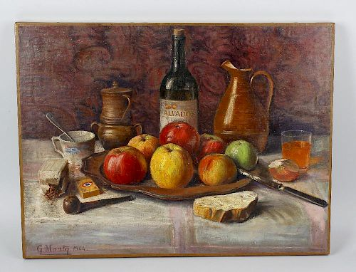 A group of 20th century oil paintings. Still lives to include a study of fruit and objects on a tabl