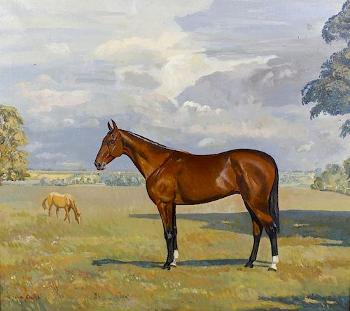 Three paintings of horses. Comprising: Joan Sleigh, a racehorse in a field, oil on canvas, 23.25 x 2