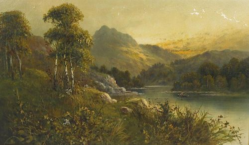 A group of 20th century oil paintings. To include: Frank Hider, (1861-1933), 'A summer evening in th
