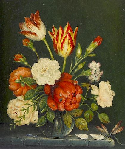 A group of 20th century oil paintings. Still lives of flowers, to include a Dutch School example wit