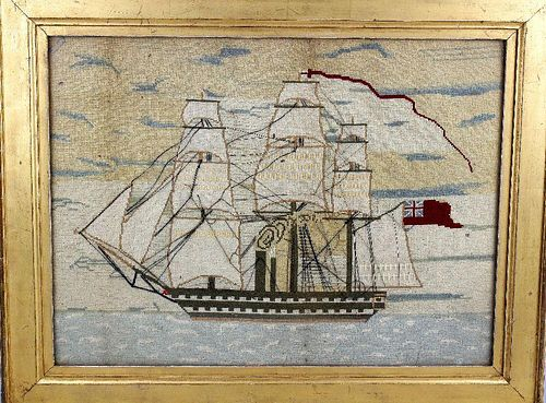 A Victorian woolwork sampler. Depicting a steamship rigger upon a calm sea, 23.5 x 17.5 (59.9 cm x 4
