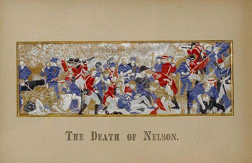 An oak framed and glazed StevengraphThe Death of Nelson (Battle of Trafalgar)Image 2.25 x 7 (5.5 cm