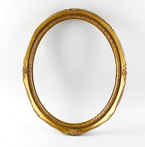 A group of gilt picture frames. To include one oval, a rectangular pair, etc, assorted sizes, (9). <