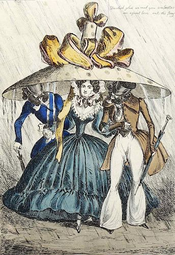 An early 19th century printed satirical caricature cartoon 'A snug birth in a shower', two gentlemen