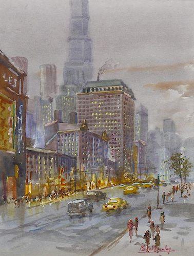Michael Crawley (Modern) Winter Broadway, New York Watercolour Signed to lower right hand corner 10