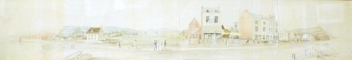 A 19th century panoramic watercolour. Landscape scene entitled 'Sidmouth 1815' 59 x 10 (150 cm x 25.