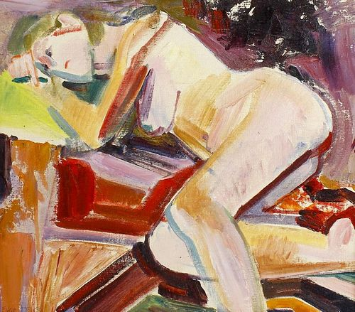E. Hemsoll (1924-2011) Study of a nude reclining on a bed Oil on canvas laid on board Titled verso '