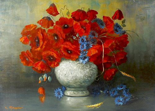 Nando Chiappa (Italian, 20th century)Still life with vase of poppies Oil on boardSigned lower left27