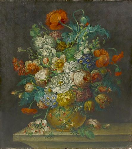 Dutch School (19th century)Still life with vase of flowers Oil on copper Unsigned 15.5 x 13.5 (39.5